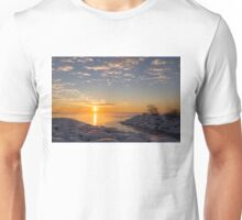 Cold Beauty - Frigid Winter Sunrise on the Lake Unisex T-Shirt