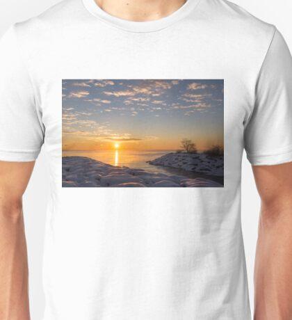 Cold Beauty - Frigid Winter Sunrise on the Lake Unisex T-Shirt