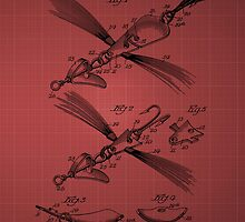 Fish Lure Patent 1933 - burgundy by chris2766