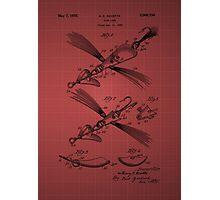 Fish Lure Patent 1933 - burgundy Photographic Print