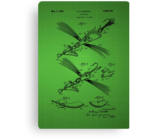 Fish Lure Patent 1933 - Green Canvas Print