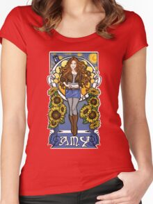 The Girl Who Waited (Amy under a Van Gogh sky) Women's Fitted Scoop T-Shirt