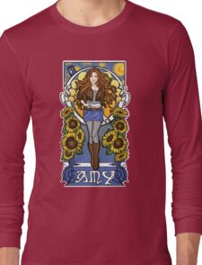 The Girl Who Waited (Amy under a Van Gogh sky) Long Sleeve T-Shirt