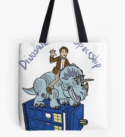 Dinosaurs on a Spaceship Tote Bag