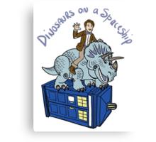 Dinosaurs on a Spaceship Canvas Print