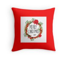 Merry Christmas Australian native Flora Throw Pillow