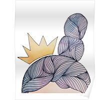 watercolour queen double bun hair with crown Poster