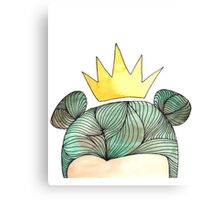 Forest Girl Queen in green hair watercolour Canvas Print