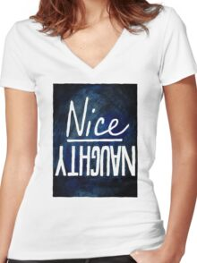 Naughty / Nice Women's Fitted V-Neck T-Shirt