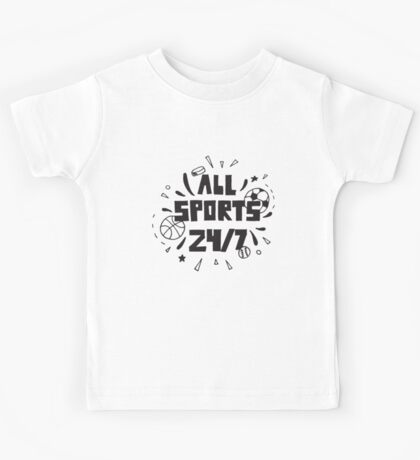 All Sports 24 7 Basketball Soccer Football Hockey Baseball Star Kids Tee