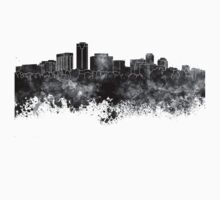 Long Beach skyline in black watercolor Kids Tee