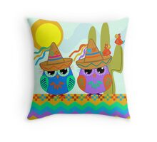 Owls with Sombrero hats under the Mexican sun Throw Pillow