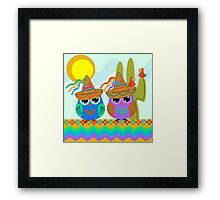 Owls with Sombrero hats under the Mexican sun Framed Print