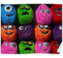Cuddly soft toy faces Poster
