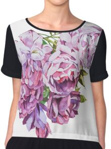 Watercolor flowers Roses. Chiffon Top