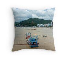Nha Trang Vietnam Fishing boats on the Cai River. Throw Pillow