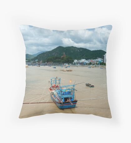 Nha Trang Vietnam Fishing boats on the Cai River. Throw Pillow