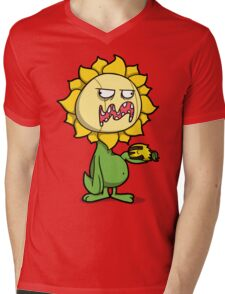 Grumpy Sunflower Mens V-Neck T-Shirt
