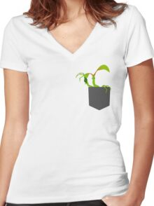 Bowtruckle in the pocket Women's Fitted V-Neck T-Shirt