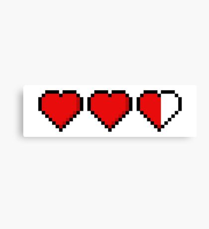Two and a Half 8-Bit Hearts Canvas Print