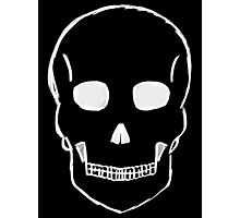 Large Skull Sketch (White Outline) Photographic Print
