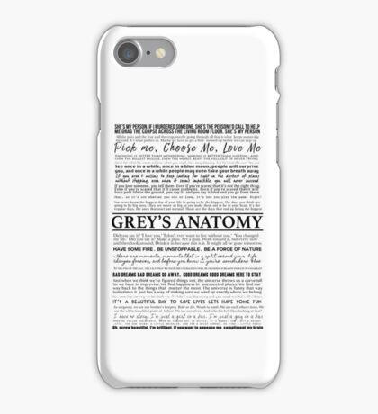Grey's Anatomy - Typography (white) iPhone Case/Skin