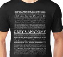 Grey's Anatomy - typography quotes (black) Unisex T-Shirt