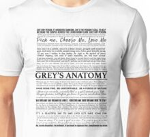 Grey's Anatomy - Typography (white) Unisex T-Shirt
