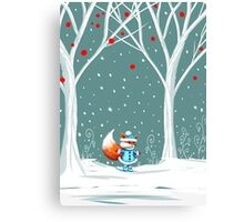 Little Miss Winter Fox in the Snow Canvas Print
