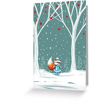 Little Miss Winter Fox in the Snow Greeting Card