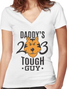 Daddy's Tough Guy - Tiger - Kid's Sports Football Baseball Backetball  Women's Fitted V-Neck T-Shirt