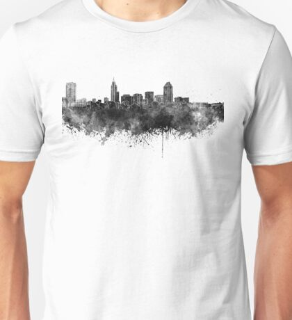 Raleigh skyline in black watercolor Unisex T-Shirt