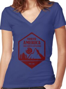 North America Women's Fitted V-Neck T-Shirt