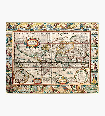 Antique Maps of the World The Americas 1628 Photographic Print