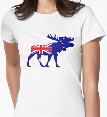 Australian Flag - Moose Womens Fitted T-Shirt