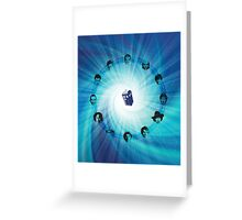 Doctor Who (Faces All) Clock Greeting Card