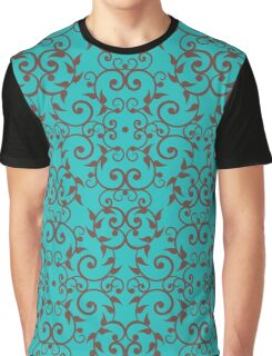 Scrolls and Leaves Pattern Graphic T-Shirt