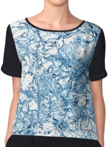 Blue water drops over white background. 3d illustration Chiffon Top