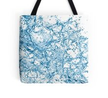 Blue water drops over white background. 3d illustration Tote Bag