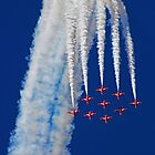 Diamond Arrival Loop - The Red Arrows Farnborough 2014 by Colin J Williams Photography
