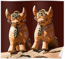 Peruvian Roof Bulls Poster