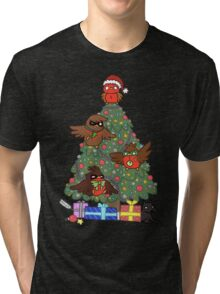 Robins around the Christmas tree Tri-blend T-Shirt