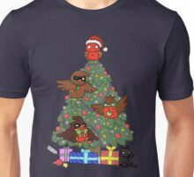 Robins around the Christmas tree Unisex T-Shirt