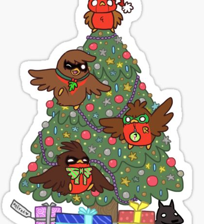 Robins around the Christmas tree Sticker
