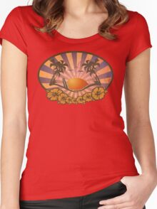 Paradise Surf Beach Women's Fitted Scoop T-Shirt