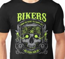 Motorcycle Skull Biker Gift Bikers Know the Secret To A Happy Life One Down Four Up Harley Unisex T-Shirt
