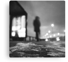 Man waiting at bus stop at night in winter square black and white analogue medium format film Hasselblad  photo Metal Print