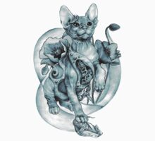 RISHAMA steampunk tattoo cat kitten biomechanics mechanics vintage One Piece - Short Sleeve