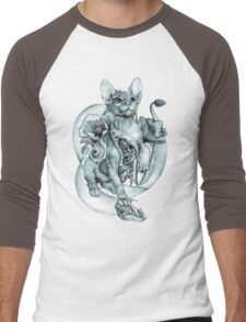 RISHAMA steampunk tattoo cat kitten biomechanics mechanics vintage Men's Baseball ¾ T-Shirt