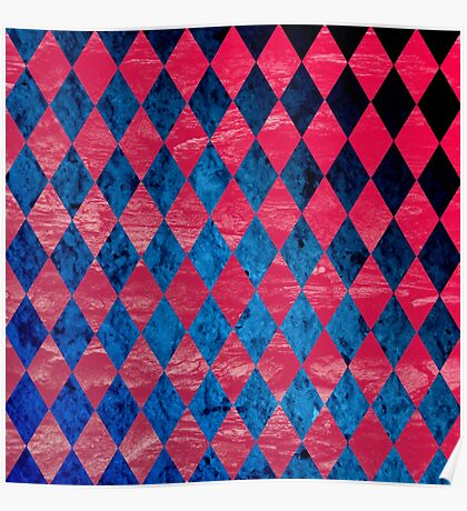 Blue Red Tribal Pattern Poster
